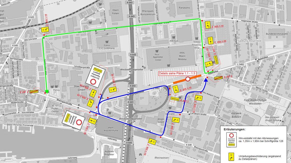Neubau Radverkehrsanlage Äppelallee - Vollsperrung. ©2018 Stadt Wiesbaden