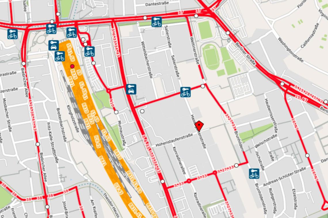 Umleitung Linien 27 sowie 3 und 33. ©2018 OpenStreetMap