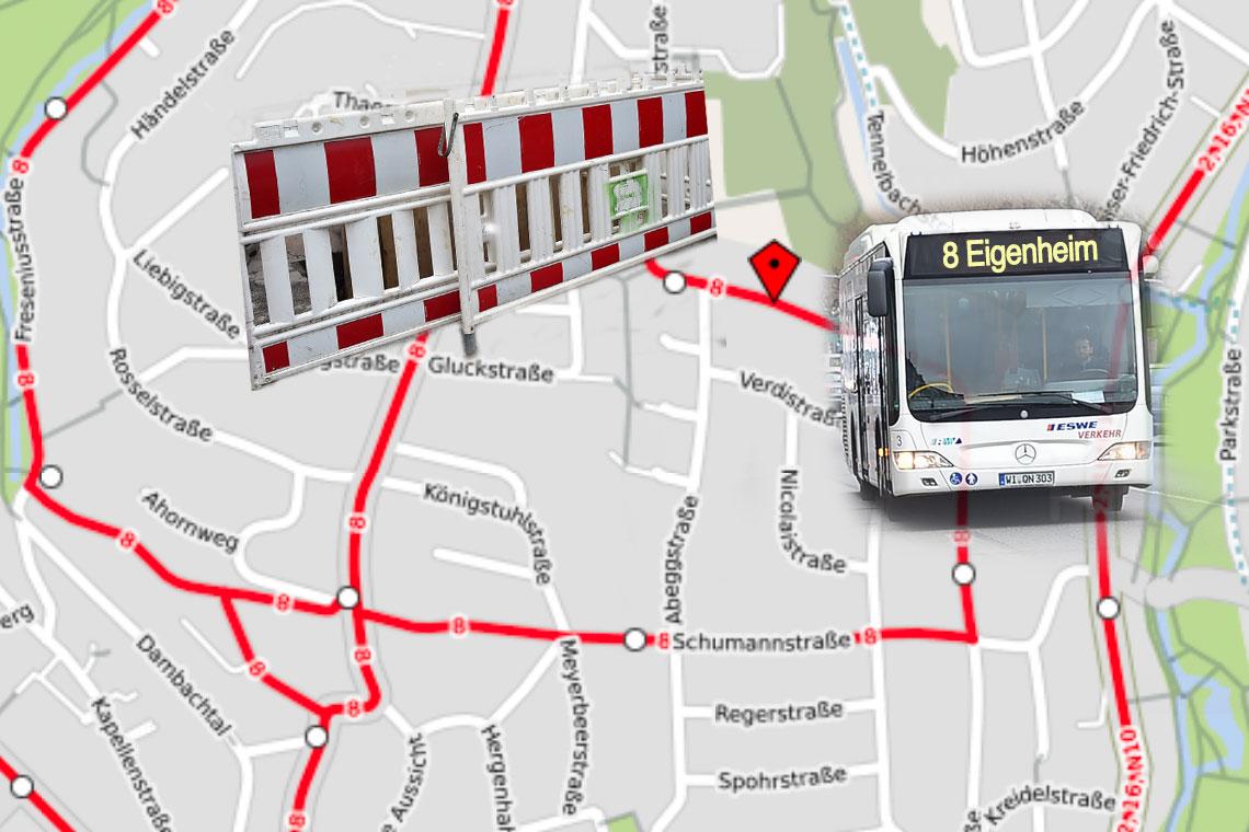 Umleitung der linie 8 wegen Vollsperrung der Richard Wagner Straße. ©2018 Open Street Map