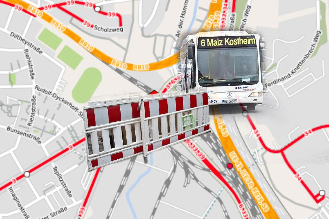 Umleitung der Linien 6, 33 und 39 ©2018 OPenstreetMap / Volker Watschounek