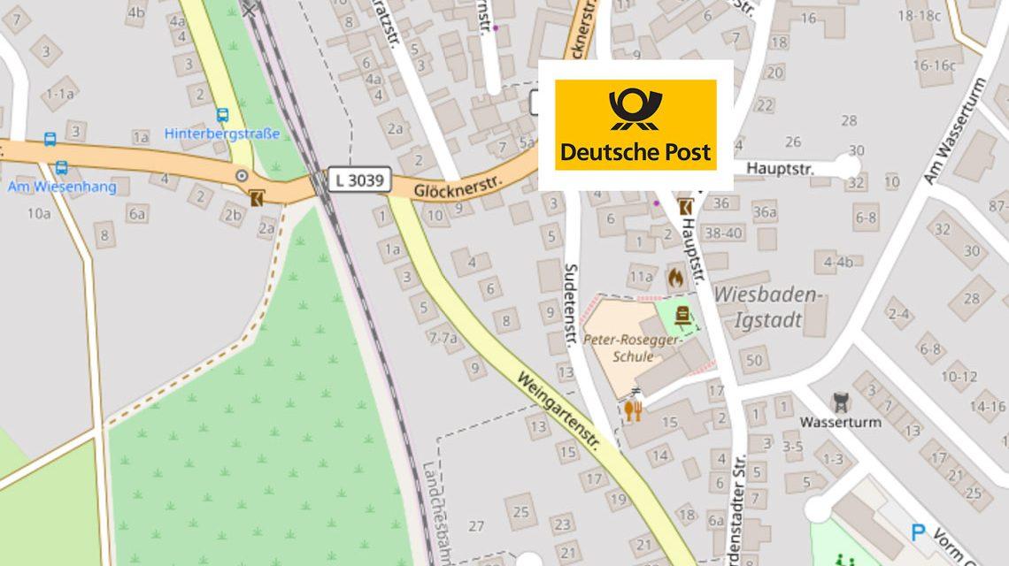 Deutsche Post Filiale in der Hauptstraße schließt nicht! ©2018 OpenStreetmap