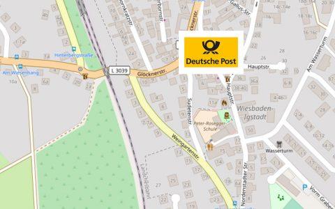 Deutsche Post Filiale in der Hauptstraße schließt ©2018 OpenStreetmap