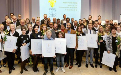Die Goldene Lilie 2018. Ein Auszug aus den Preisträgern: Die Preisträger des Jahres 2018 sind: a priori Werbeagentur, E. Fischer-Chemie, Architekturbüro Eva Maria Wolfart G2018 Frank Schuppelius