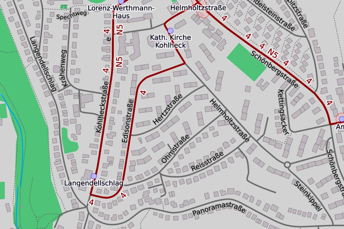 Wasserrohrbruch in der Edisonstraße inn Wiesbaden Kohlheck. ©2019 Openstreetmap / Wiesbaden lebt!