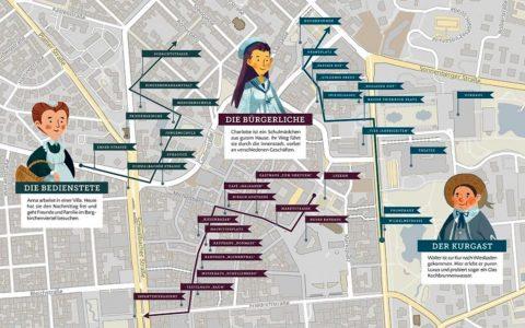 Wie wäre es mit einem Spaziergang? Karten zeigen ganz genau, wo die Hauptfiguren unterwegs waren. ©2019 Natalia Zatiseva