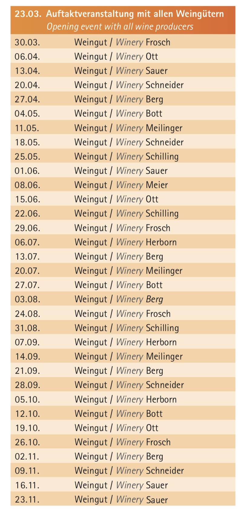 Welcher Winzer an welchem Wochenende. Übersicht aller Termine beim Wiesbadener Marktfrühstück. ©2019 Wiesbaden Marketing
