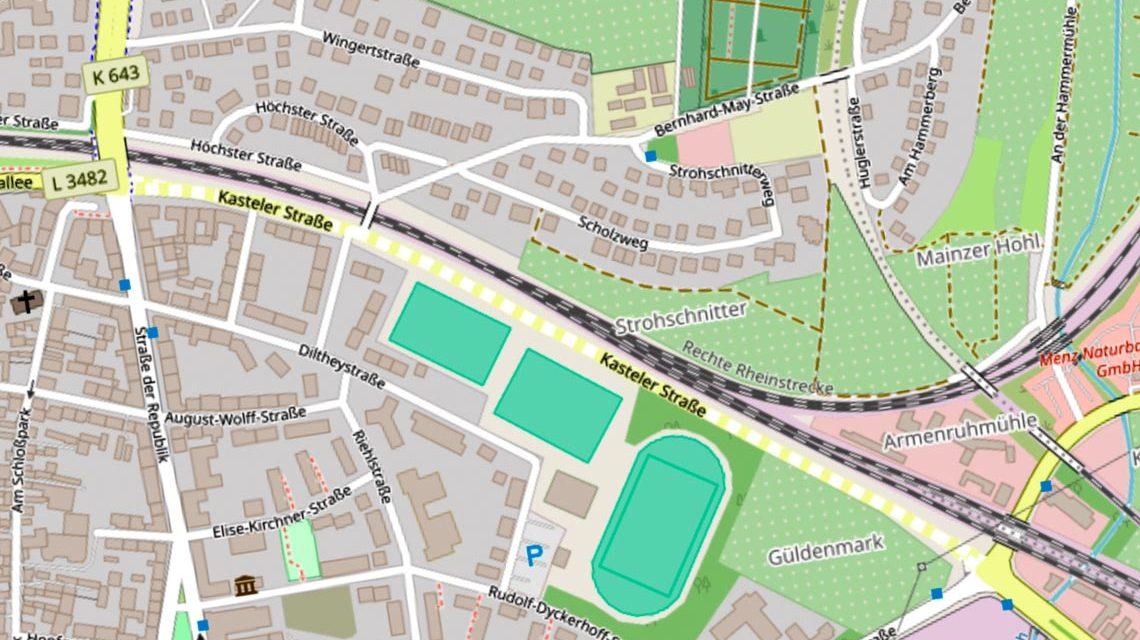 Die Kasteler Straße wurde zwischen den Knotenpunkten Breslauer Straße und Herzogsplatz auf einer Länge von ca. 830 Metern erneuert. ©2019 OpenstreetMap