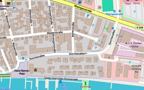 Möwenstraße in Wiesbaden Schierstein ©2019 Openstreetmap