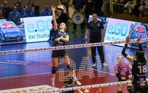 Auch Tanja Großer war machtlos. Der VCW verliert in Aachen. ©2019 Detlef Gottwald