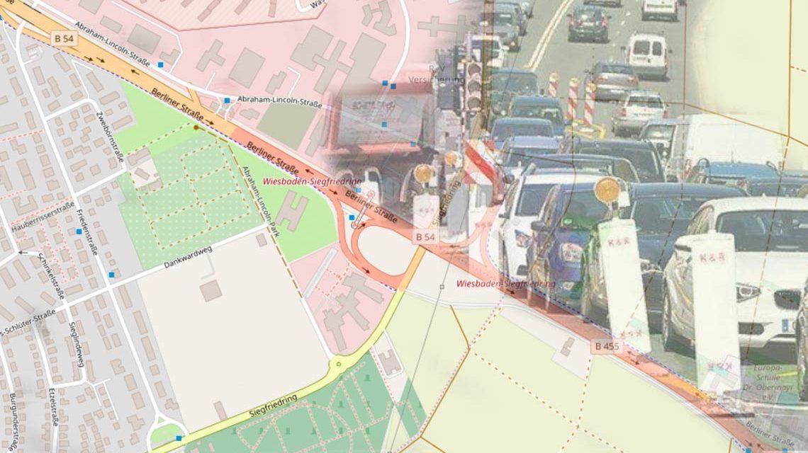 Großbaustelle mit Einbahnverkehrsführung im Siegfriedring. ©2019 Opebnstreetmap / Wiesbaden lebt!