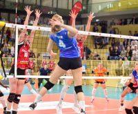 Saison 2018.2019 | Playoff-Viertelfinale | 2. Spiel | VC Wiesbaden - MTV Stuttgart | 0:3 – Tanja Großer macht den Punkt. ©2019 Volker Watschounek