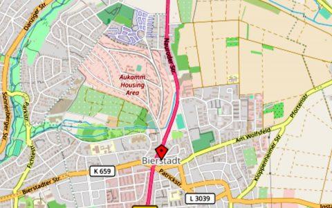 Bierstadt Nord an B455 bangeschlossen. ©2019 Openstreetmap