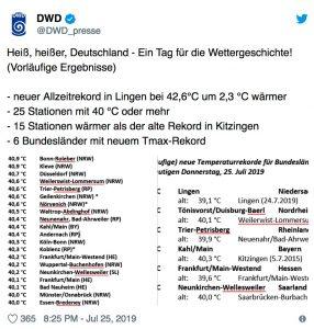 25 Wetterstationen messen 40 Grad und mehr. Frankfurt ist Hessesn Spitzenreiter.