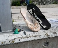 Rheinkippen - im Vorfeld des Rhein Cleanup - Zigarettenkippen werden gesammelt